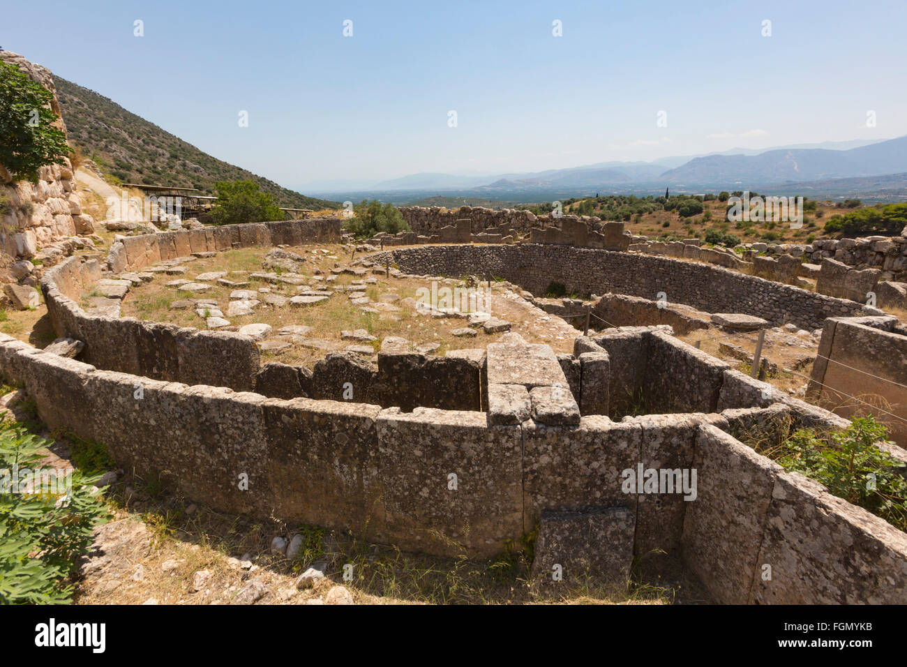 Mycenae, Argolis, Peloponnese, Greece.  Grave Circle A, dating from the 16th century BC, within the walls of the Stock Photo