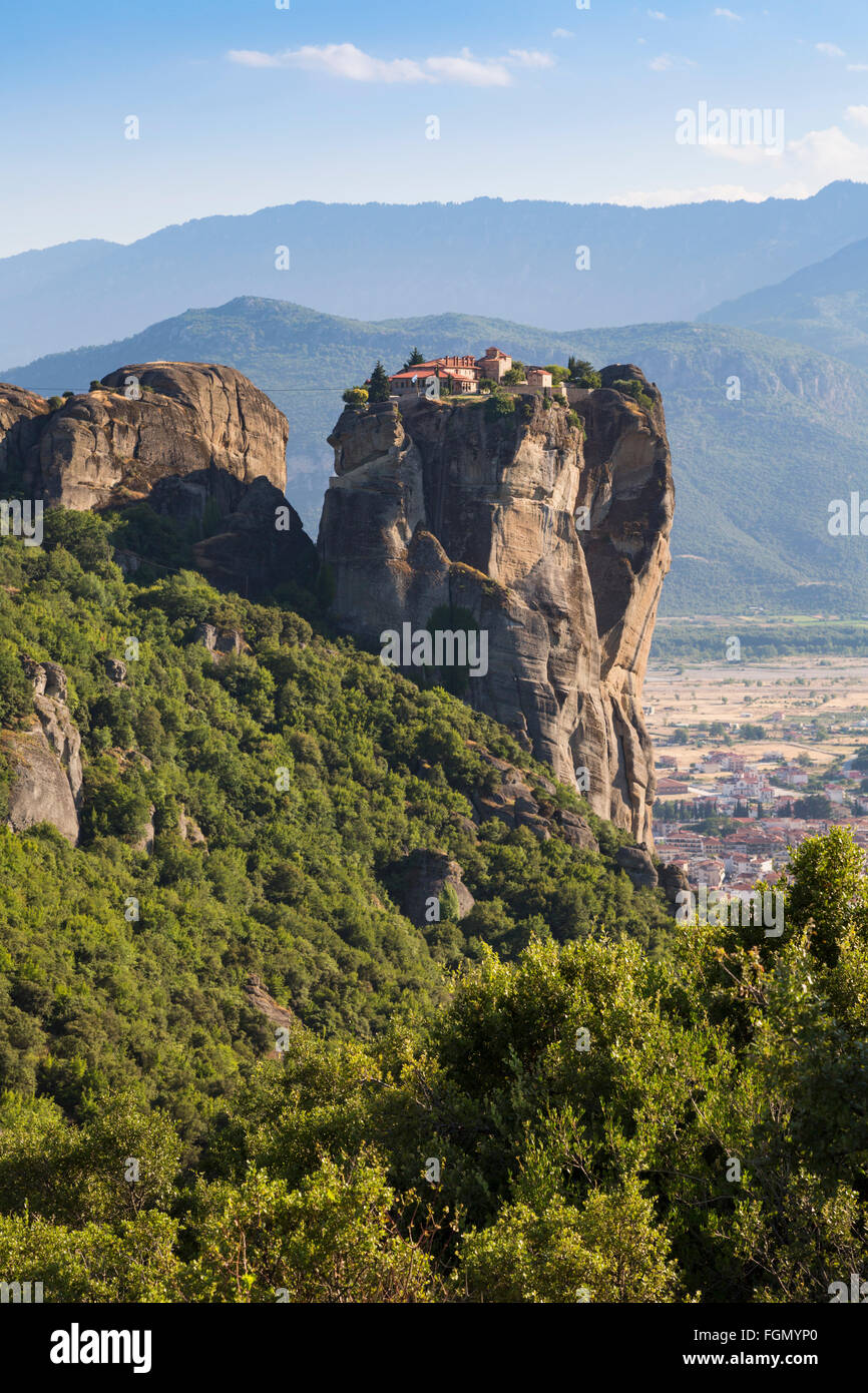 Meteora, Thessaly, Greece.  The Eastern Orthodox Holy Trinity Monastery. Stock Photo