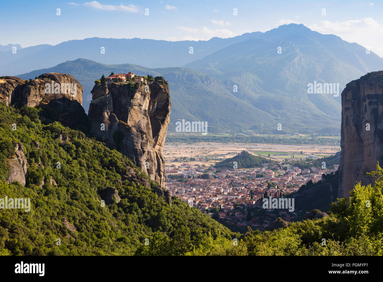 Meteora, Thessaly, Greece.  The Eastern Orthodox Holy Trinity Monastery. - Stock Image
