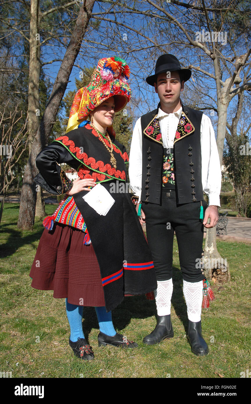Typical folk costumes, Montehermoso, Caceres province, Region of Extremadura, Spain, Europe - Stock Image