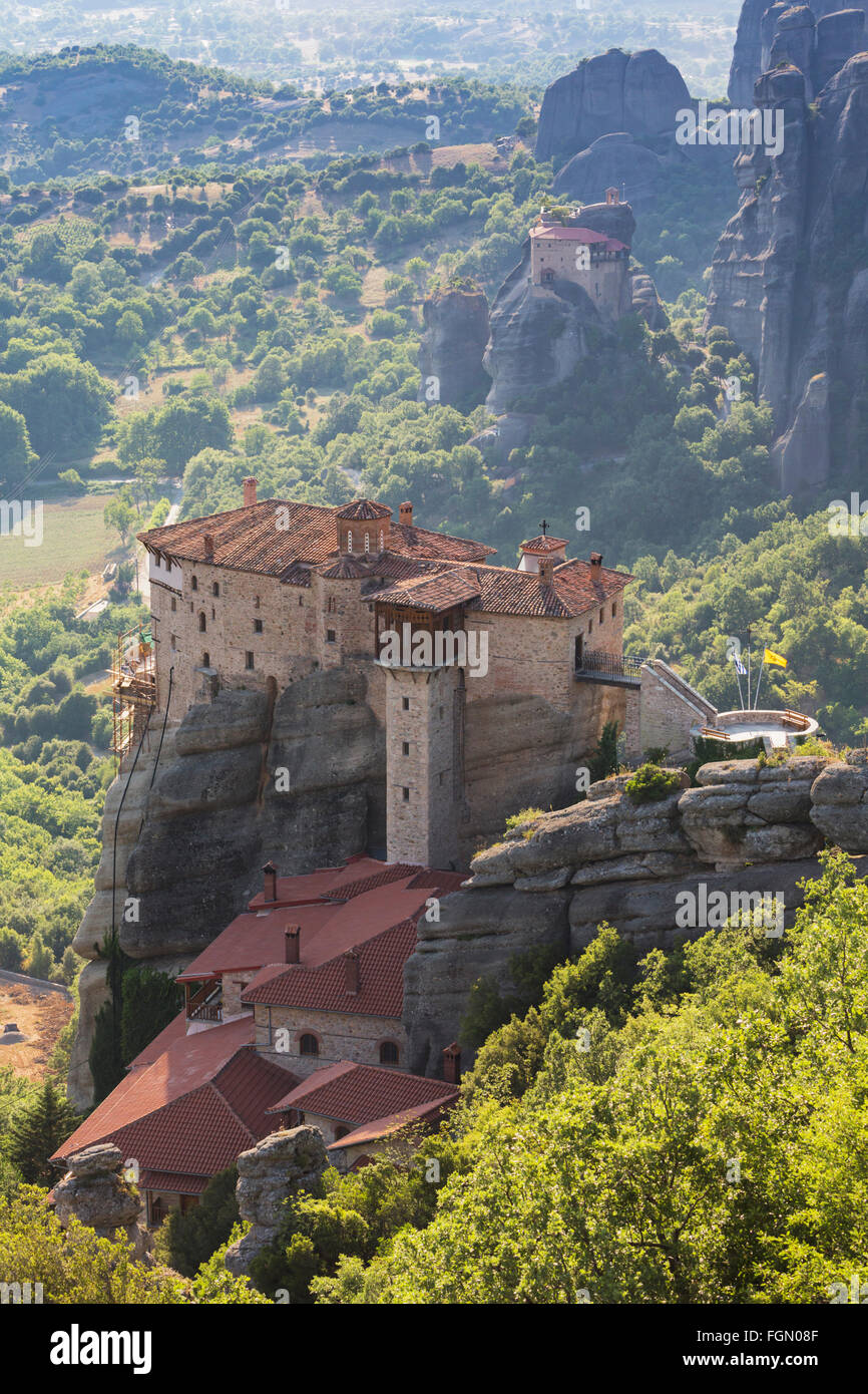 Meteora, Thessaly, Greece.  The Holy Monastery of Rousanou, was founded in the 16th century. Stock Photo