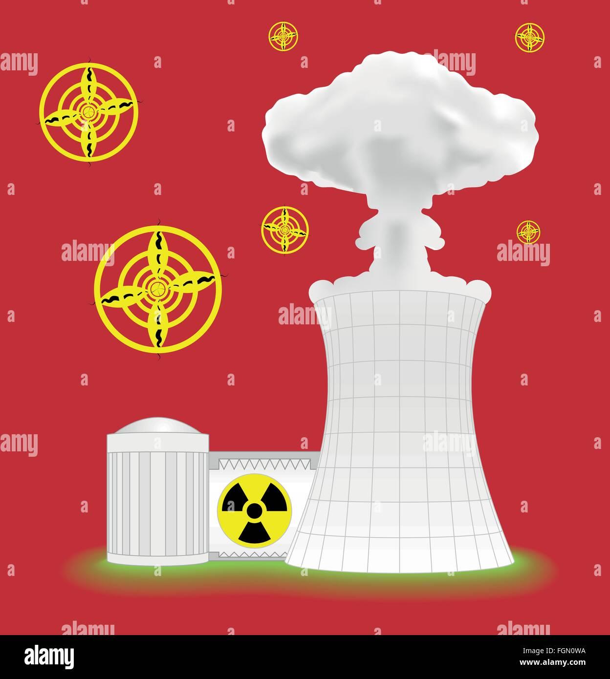 Nuclear plant with mushroom cloud - Stock Vector