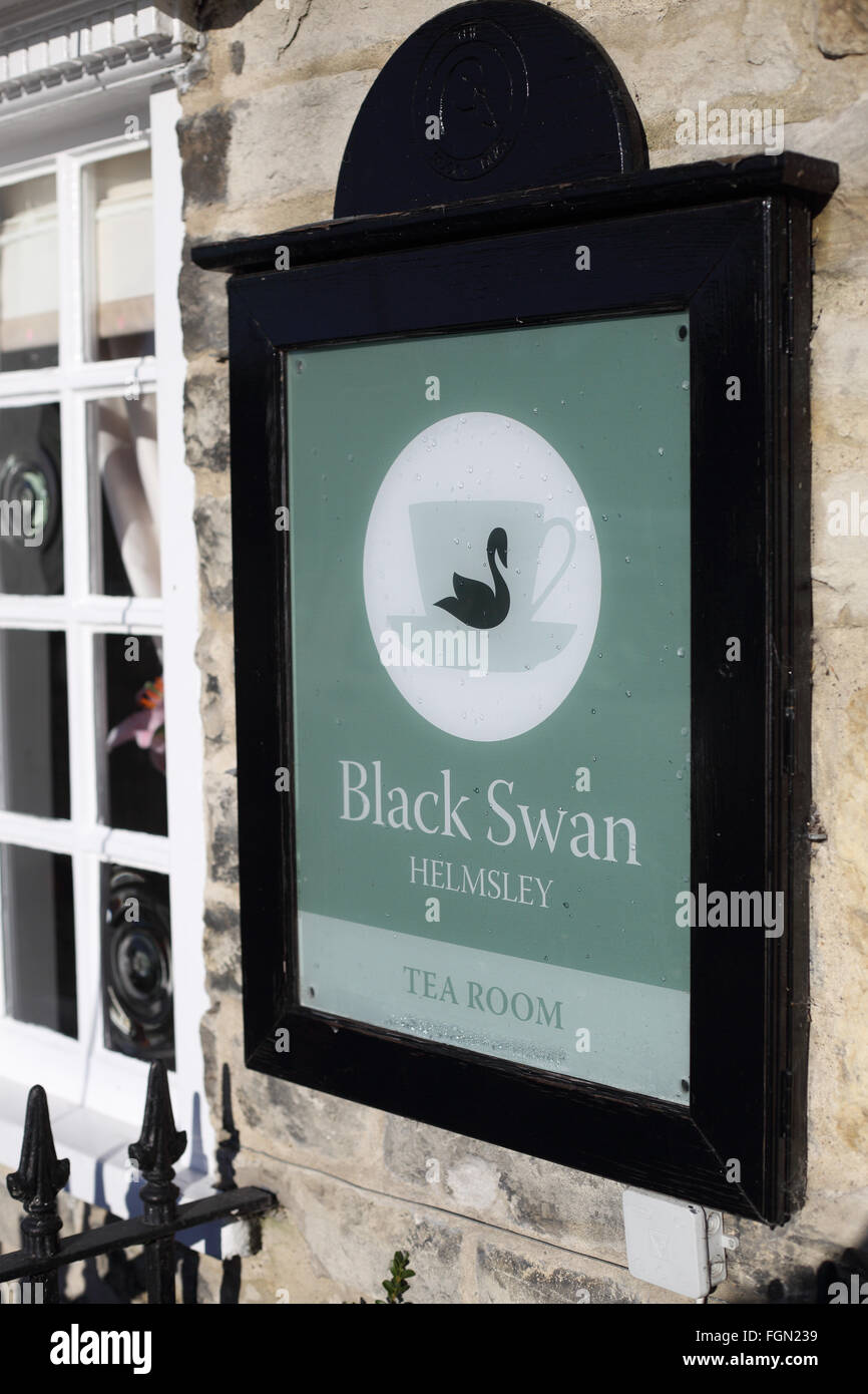 Sign outside The Black Swan hotel in Helmsley, north yorkshire - Stock Image