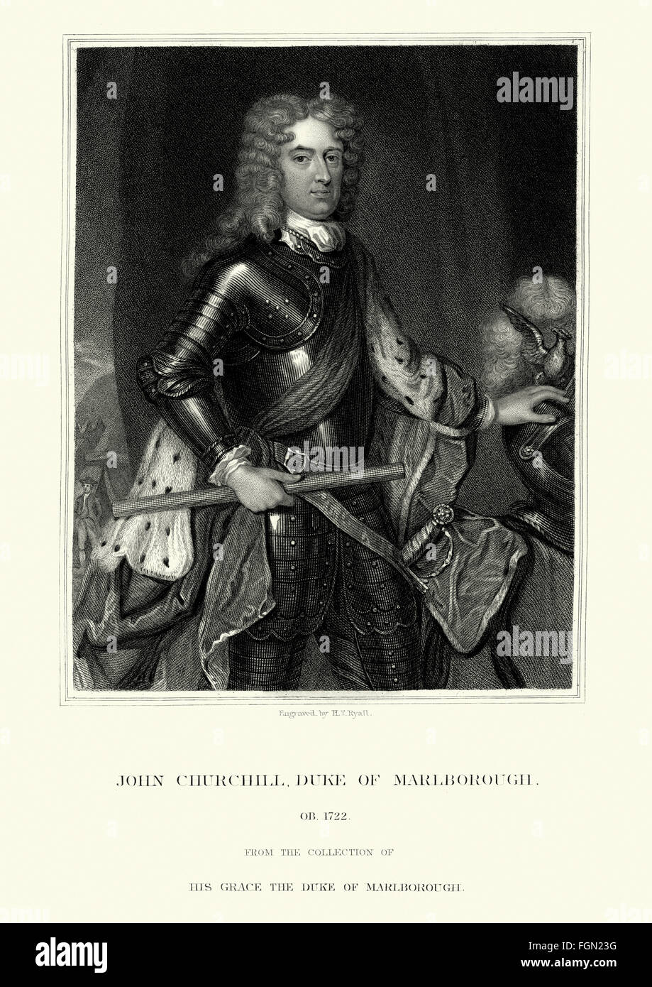 Portrait of John Churchill, 1st Duke of Marlborough 1650 to 16 June 1722 an English soldier and statesman whose - Stock Image