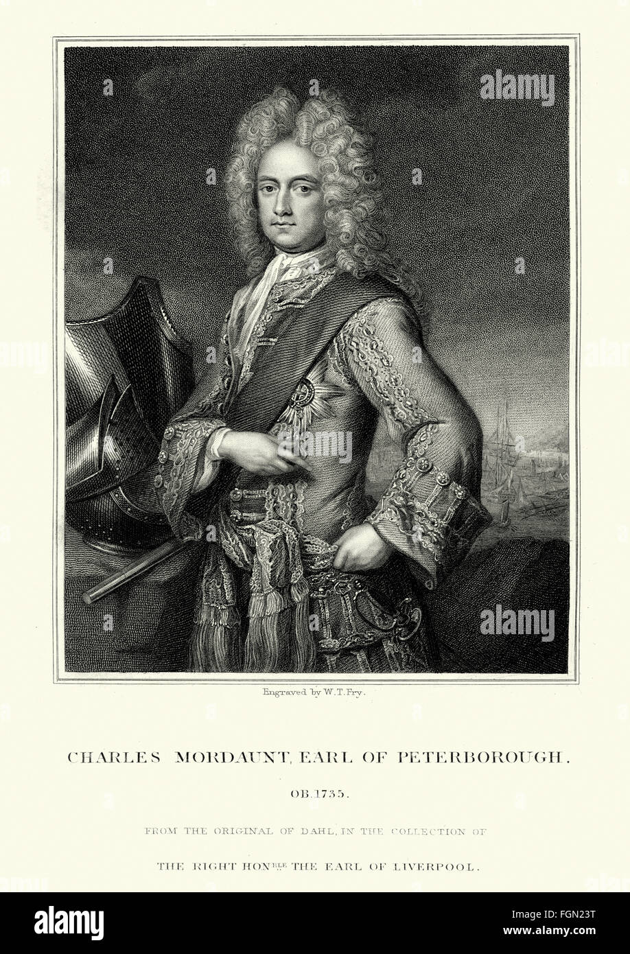 Portrait of Charles Mordaunt, 3rd Earl of Peterborough 1658 to 1735 an English nobleman and military leader. Stock Photo