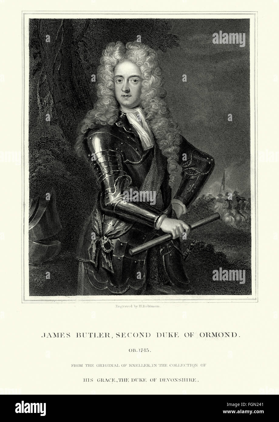 Portrait of James Butler, 2nd Duke of Ormonde 1665 to 1745 an Irish statesman and soldier. - Stock Image
