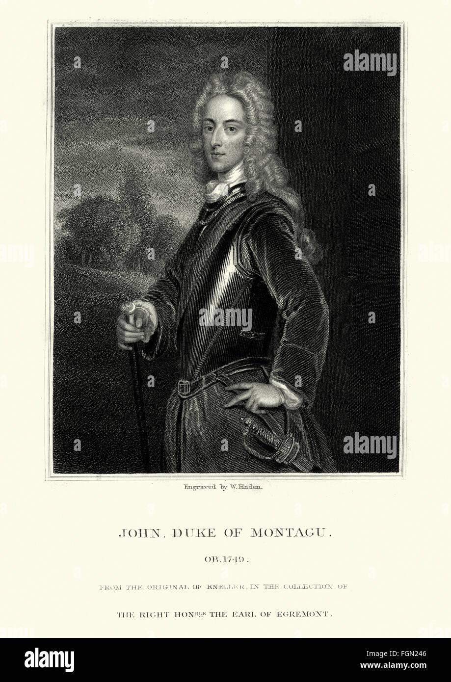 Portrait of John Montagu, 2nd Duke of Montagu 1690 to 1749. - Stock Image