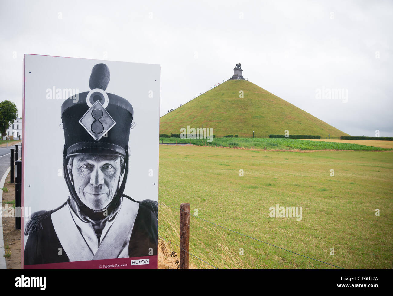 Waterloo, Belgium - July 13, 2015: Poster at the entrance of the Waterloo memorial. - Stock Image