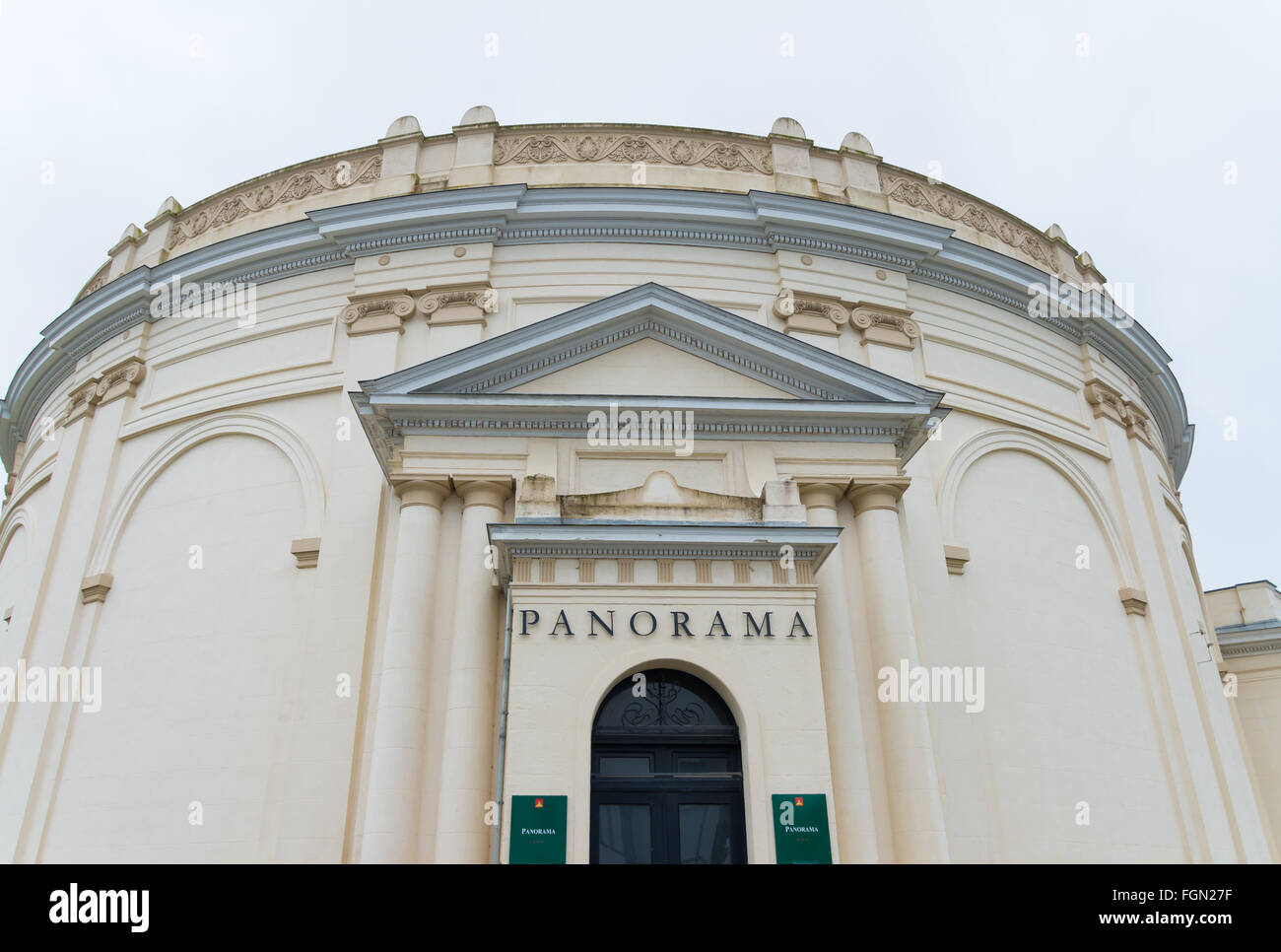 Waterloo, Belgium - July 13, 2015: Panorama museum building exterior. The museum contains a  cylindrical painting - Stock Image