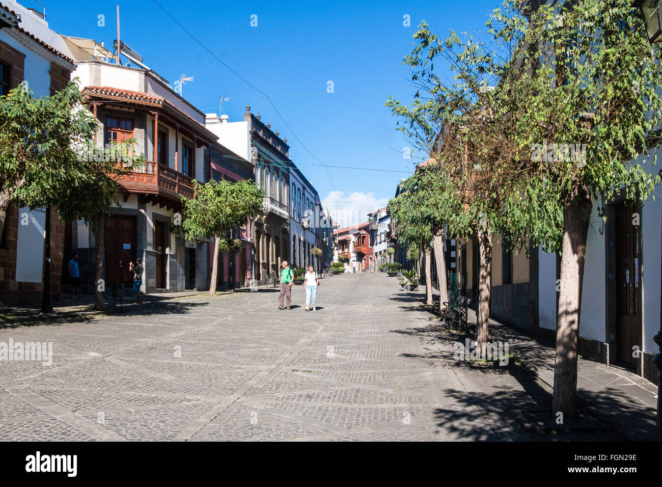 Houses with wooden balconies in the well preserved old  mountain town of Teror, Gran Canaria, Spain, Europe Stock Photo