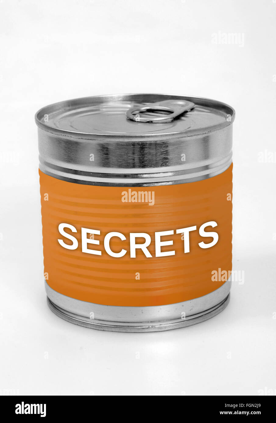 Secrets word on food can - Stock Image