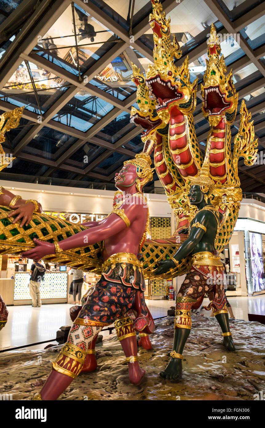 An ornate display in Suvarnabhumi Airport Terminal, Bangkok, Thailand. - Stock Image