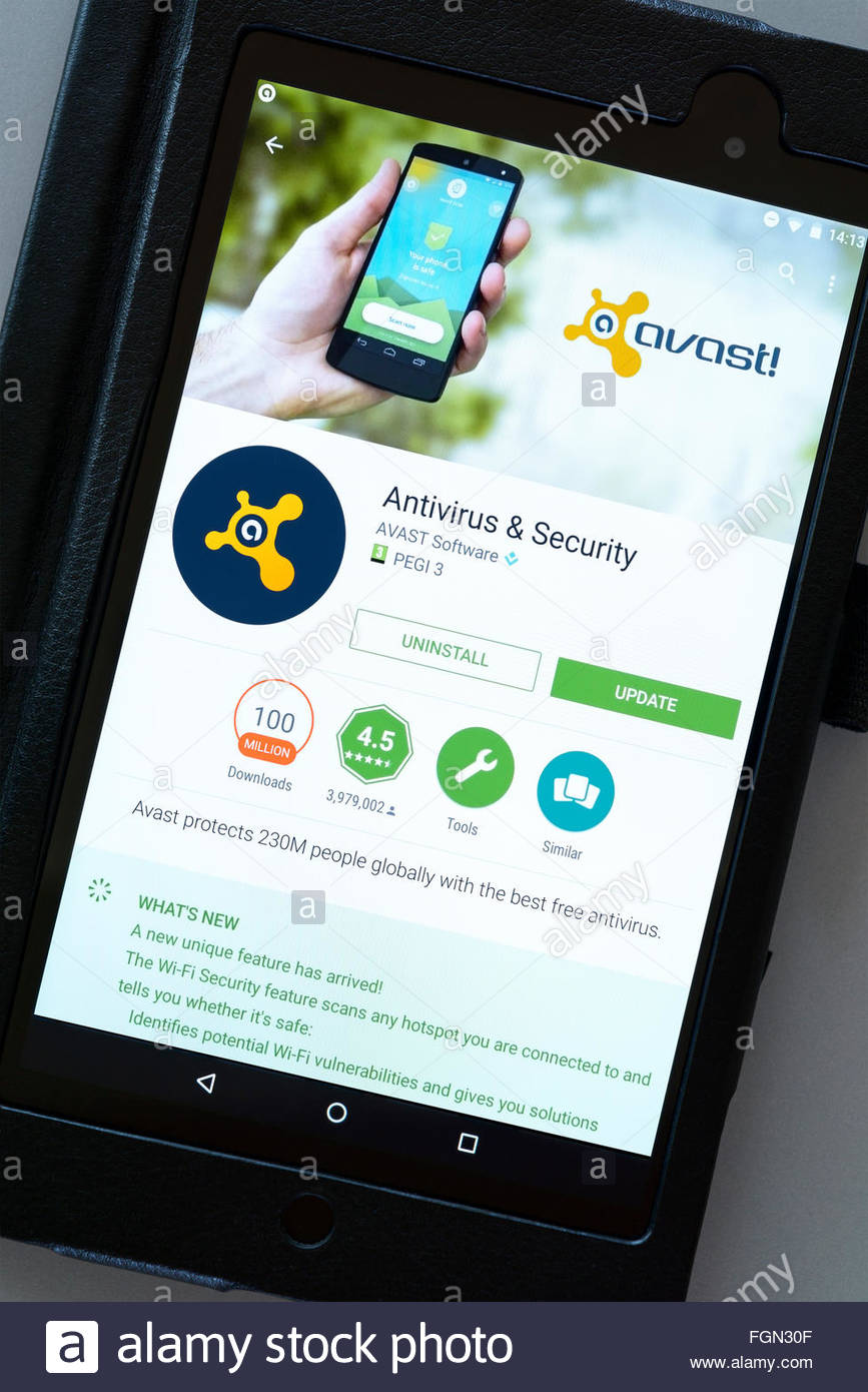 Avast antivirus & security app on an android tablet PC, Dorset, England, UK - Stock Image