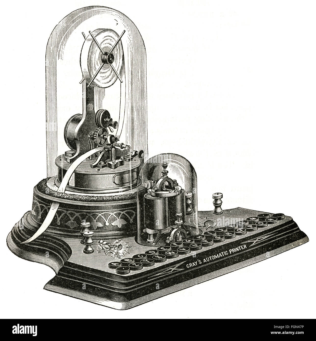 Antique 1877 engraving, Elisha Gray's Printing Telegraph for Private Lines. - Stock Image