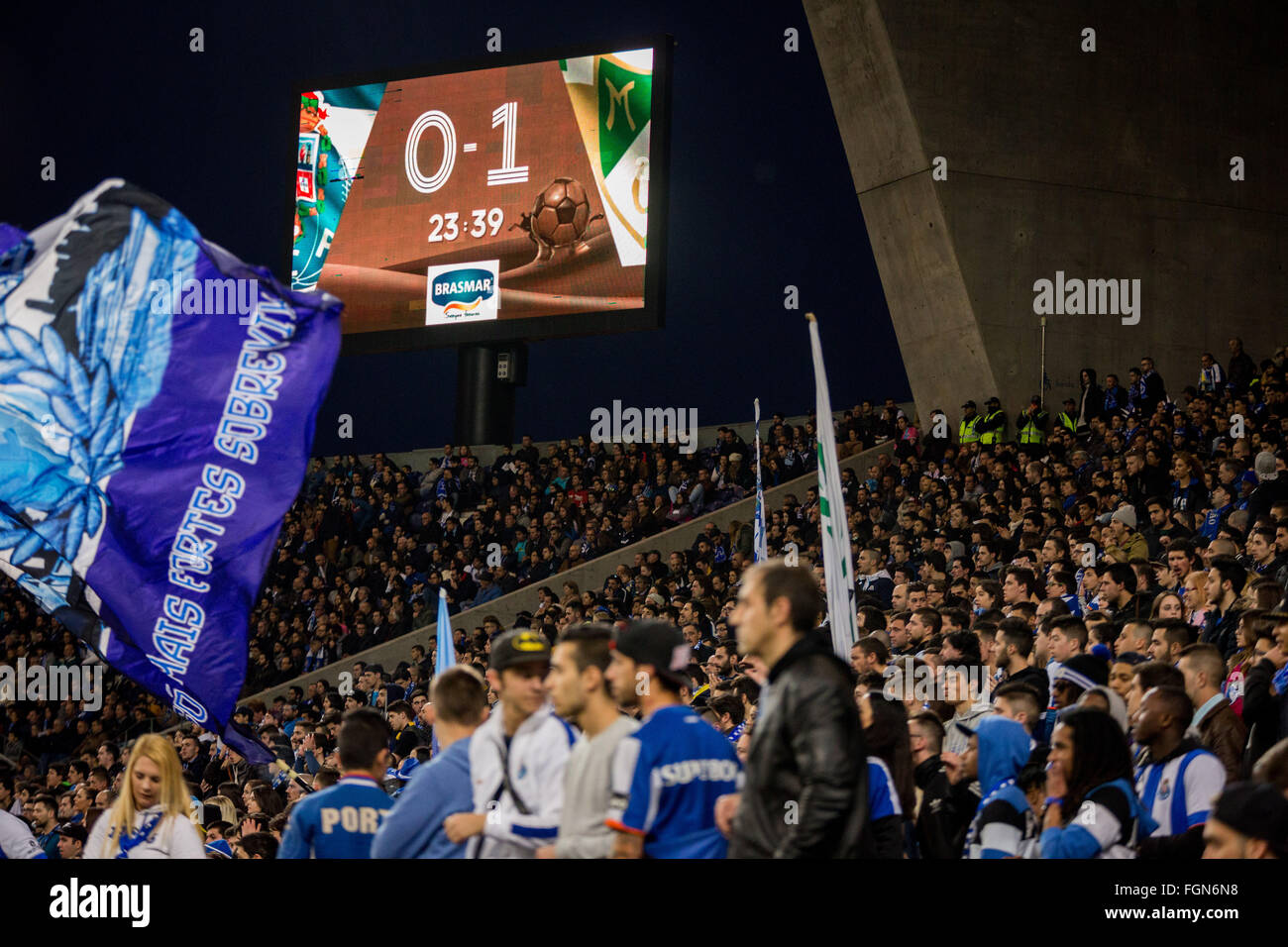 Dragon Stadium, Portugal. 21st February, 2016. FC Porto's player fans during the Premier League 2015/16 match - Stock Image