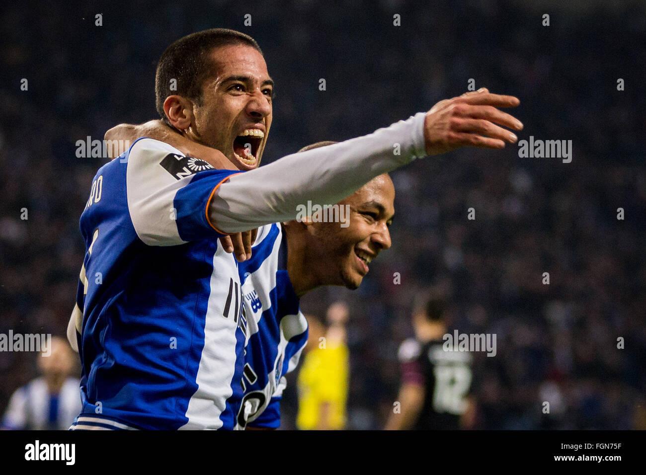 Dragon Stadium, Portugal. 21st February, 2016. FC Porto's player Evandro celebrates after scoring goal, during - Stock Image