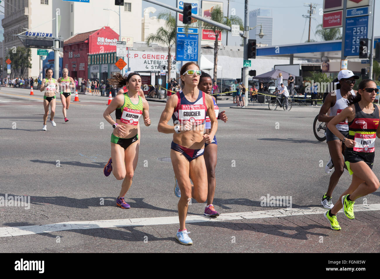 Kara Goucher running in the US Olympic marathon trials in Los Angeles California Feb 13th 2016 she finished 4th Stock Photo