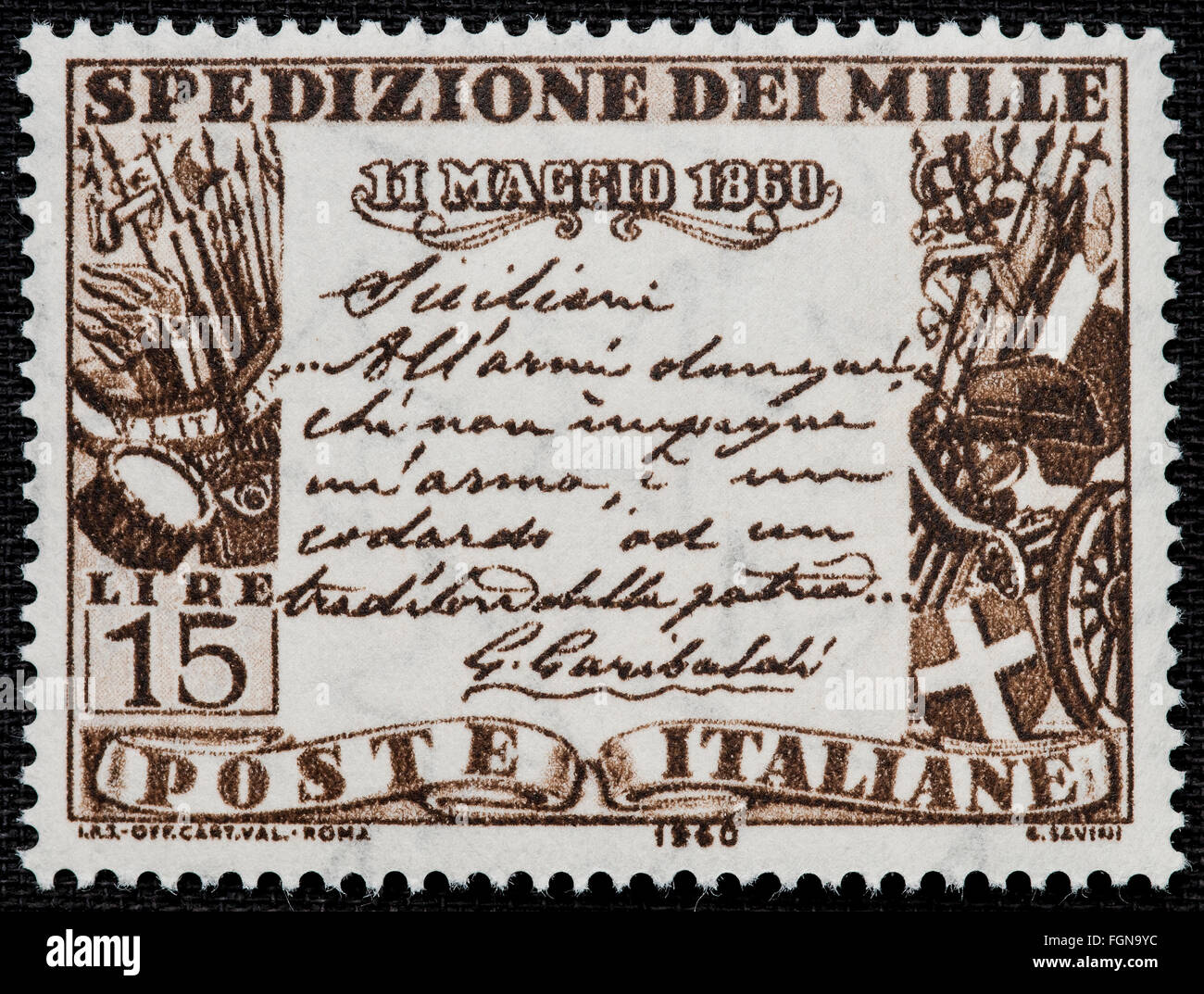 1960 - Italian mint stamp issued to commemorate the the 'Mille' expedition Lire 15 - Stock Image