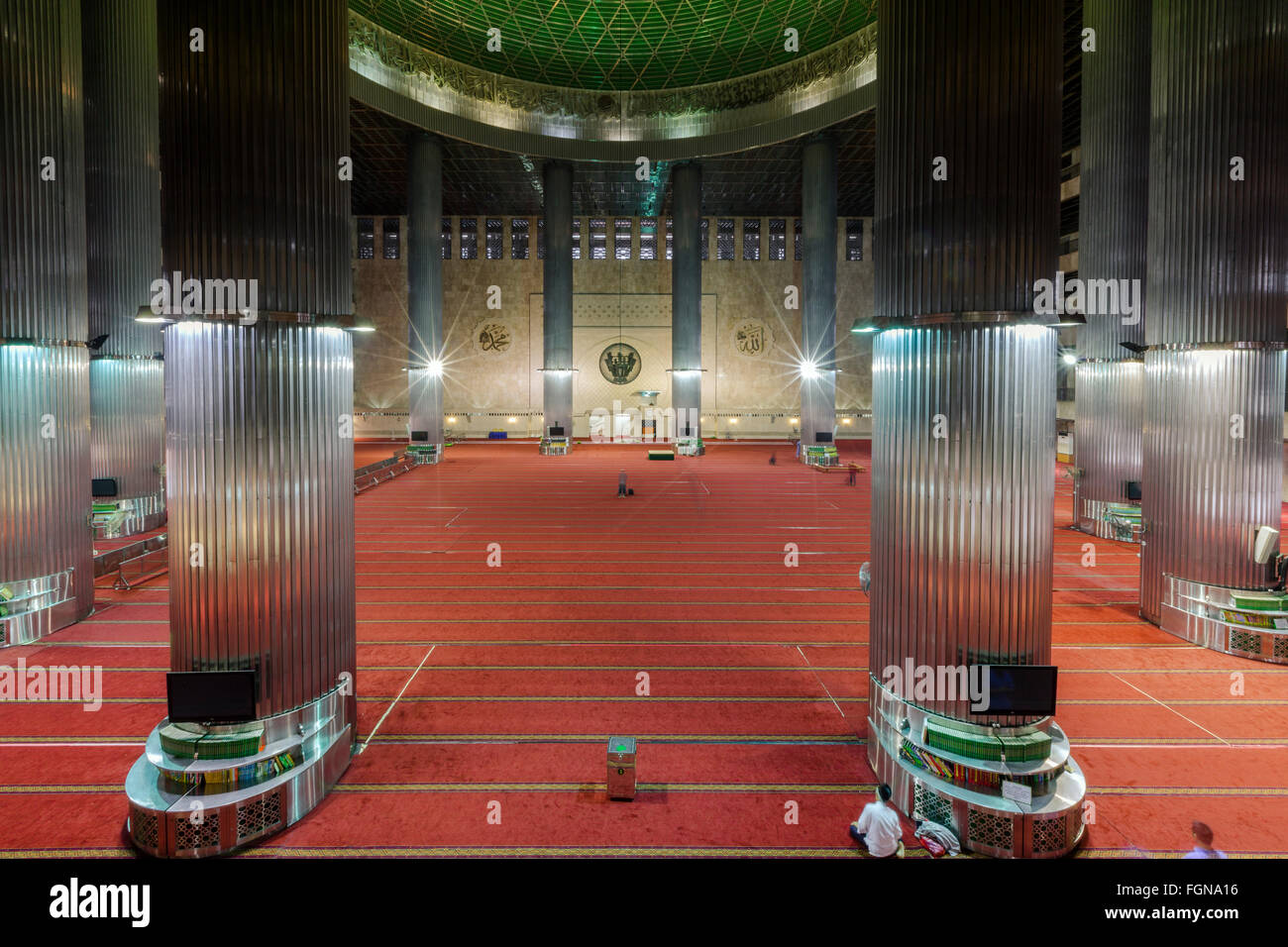 Interior of the prayer hall of the Istiqlal Mosque, or Masjid Istiqlal, in Jakarta - the largest mosque in Southeast - Stock Image
