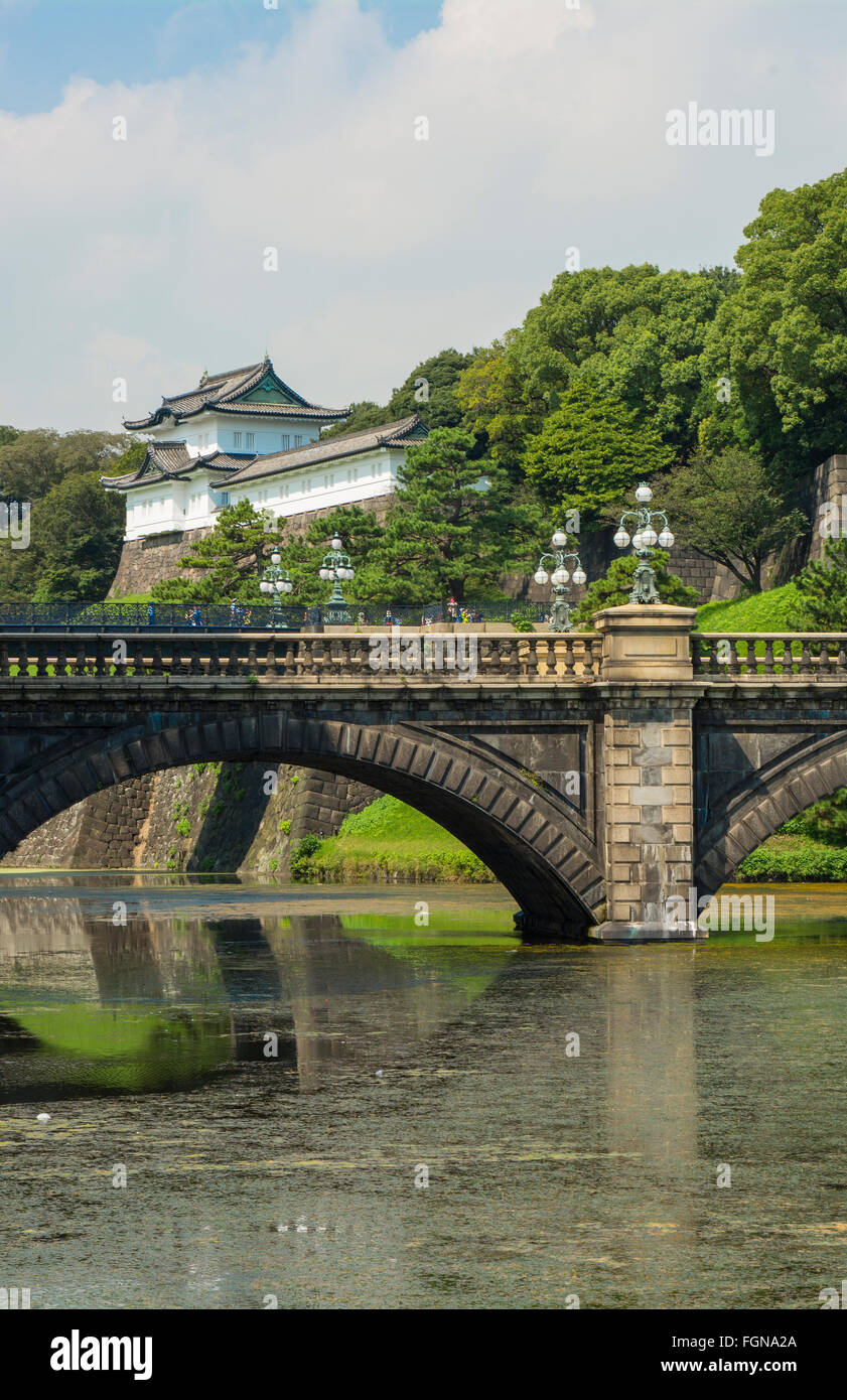Tokyo Japan traditional Imperial Gardens in downtown city of traditional history of Emperor with bridge and temple Stock Photo