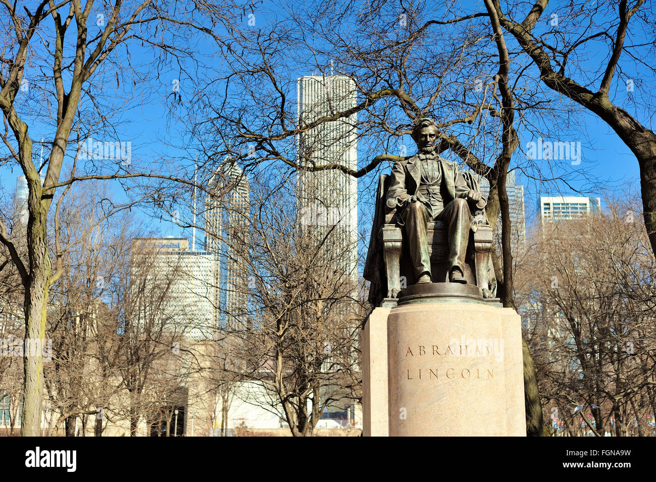 The Head of State bronze stature, also called Seated Lincoln, is located in Chicago's Grant Park. Chicago, Illinois, Stock Photo