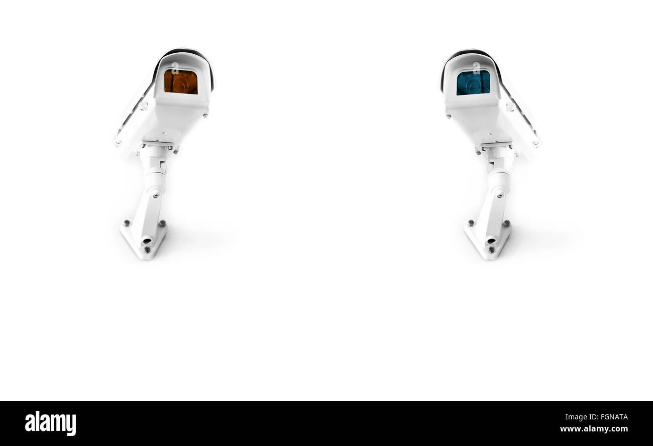 wall-type surveillance cameras, isolated - Stock Image