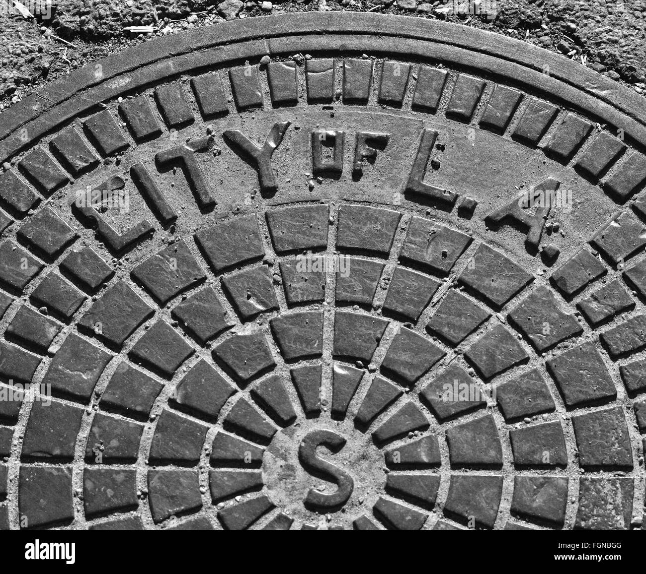 Street drains, sewer cover, water access, lighting access covers - Stock Image