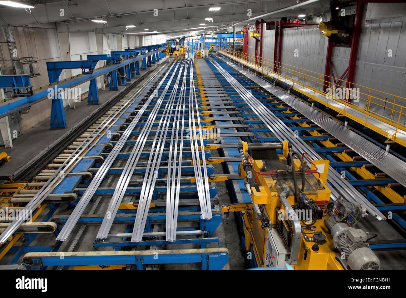 Aluminum extrusion manufacturing line Stock Photo: 96356429