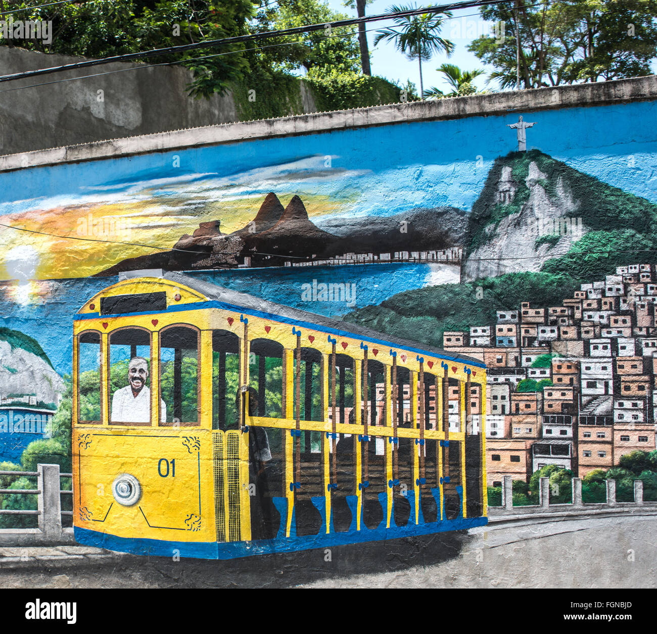 Colorful street art  in the Santa Teresa neighborhood, Rio de Janeiro, Brazil - Stock Image
