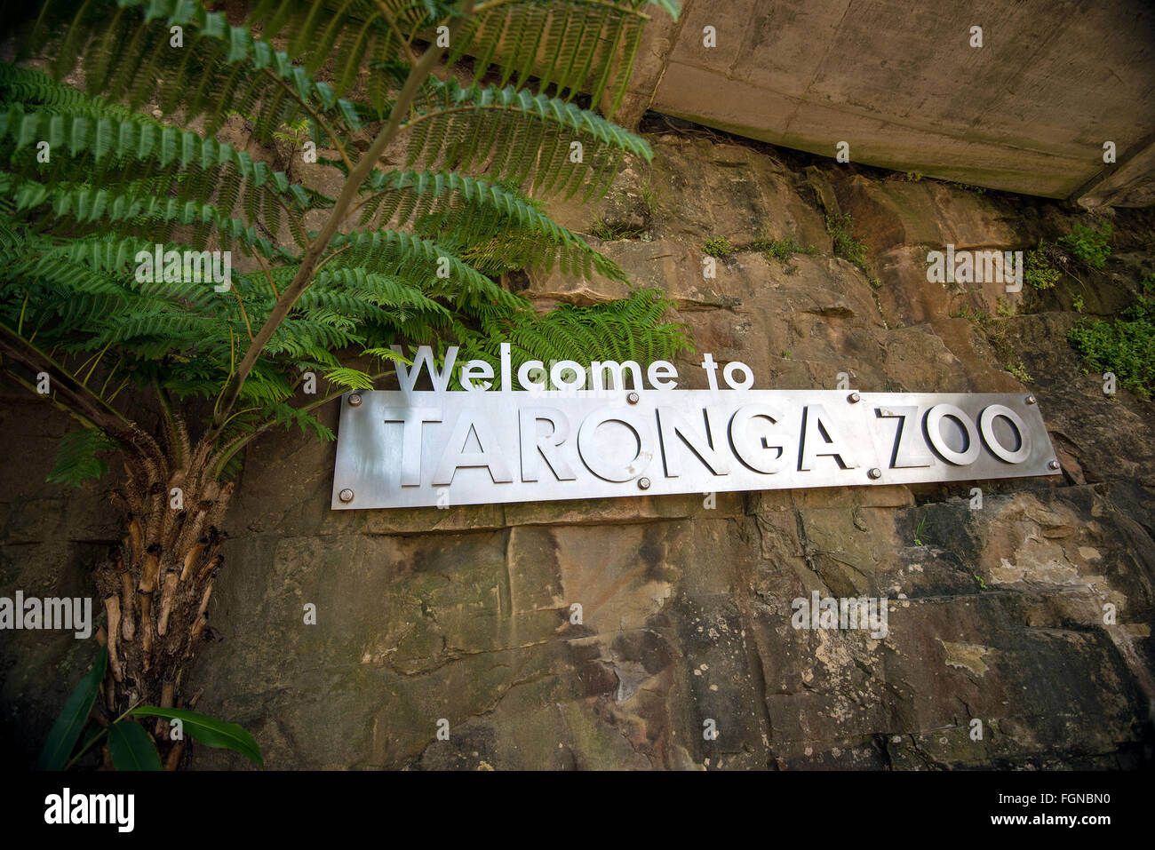 Sydney, Australia - November 09, 2015: Taronga Zoo sign mounted on the rocks at the entrance. Taronga Zoo is managed - Stock Image