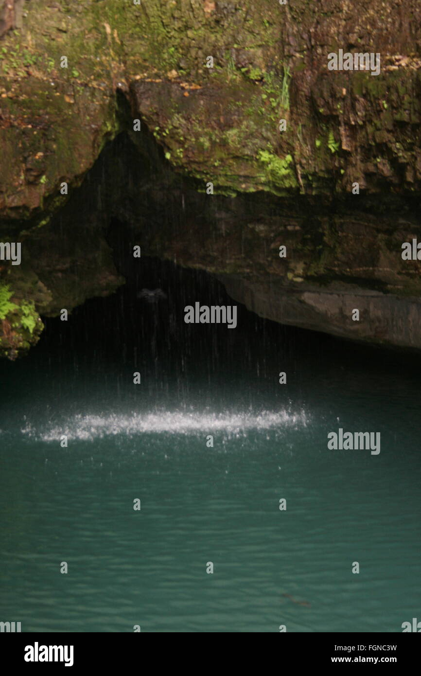 Cave, waterfall, calming, peaceful, water - Stock Image