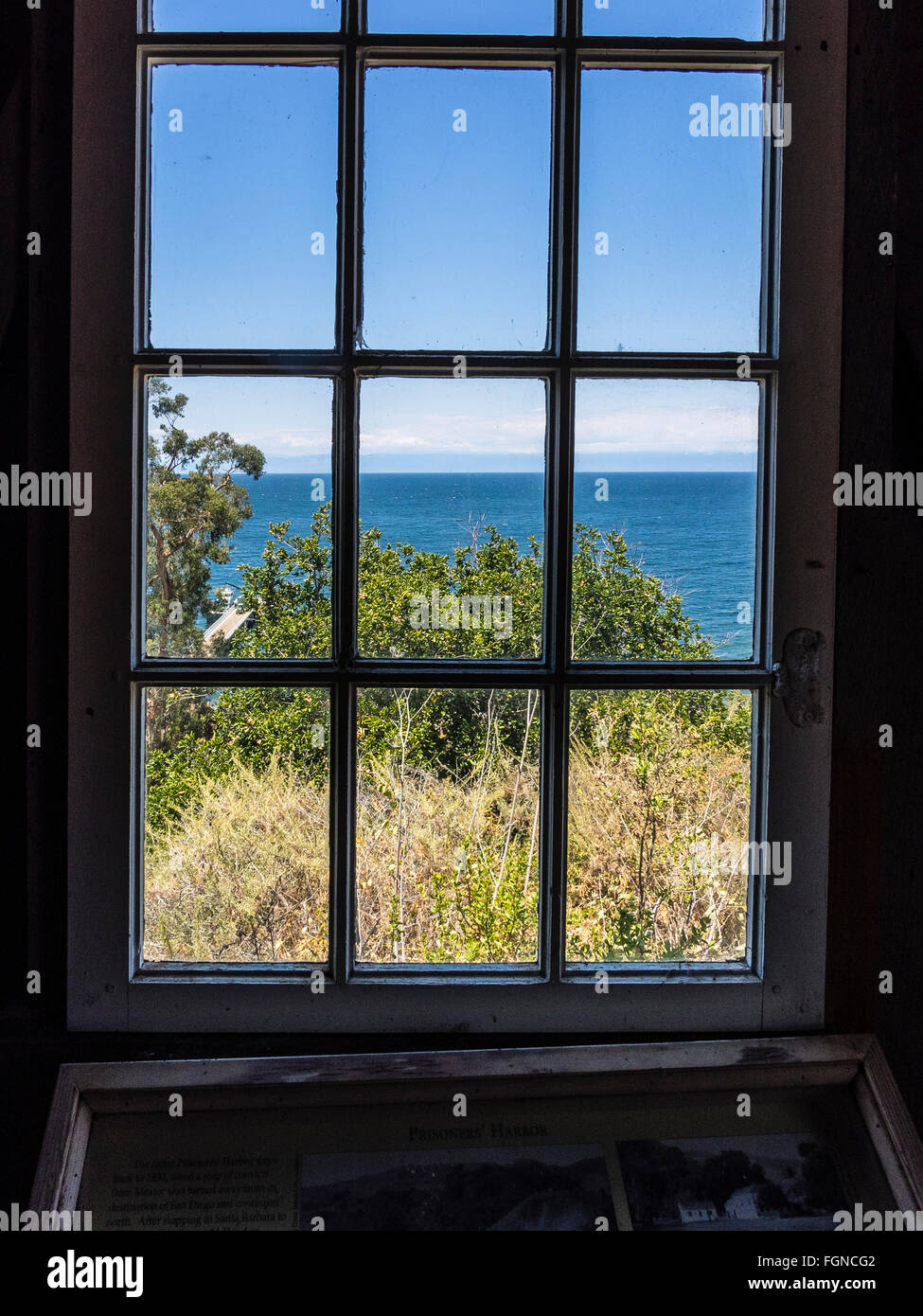 A window view of Pacific Ocean from Harvey's Lookout on Santa Cruz Island. Santa Cruz Island is one of the Channel Stock Photo