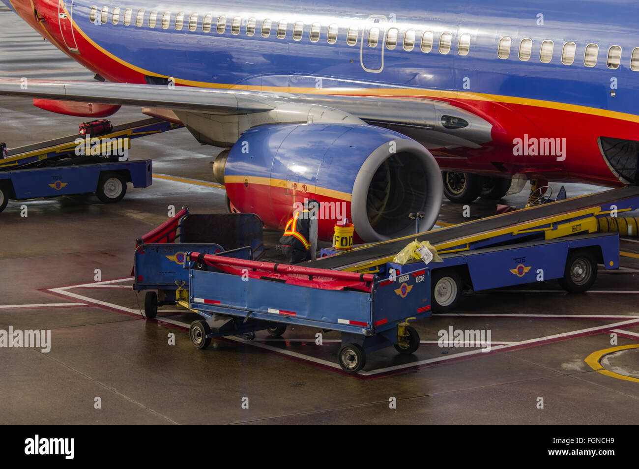 Baggage handler loads luggage aboard a Southwest Airlines flight - Stock Image