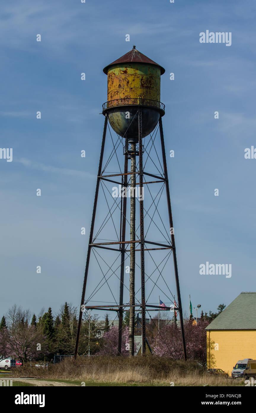 Rusty metal water tower at the Semiahmoo Resort, Blaine Washington - Stock Image