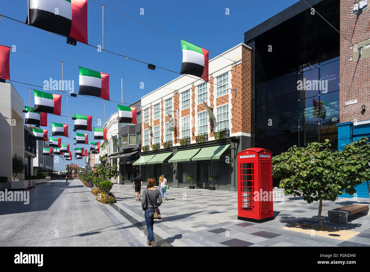 View of reproduction European street at new outdoor shopping arcade called Citywalk in Dubai United Arab Emirates Stock Photo