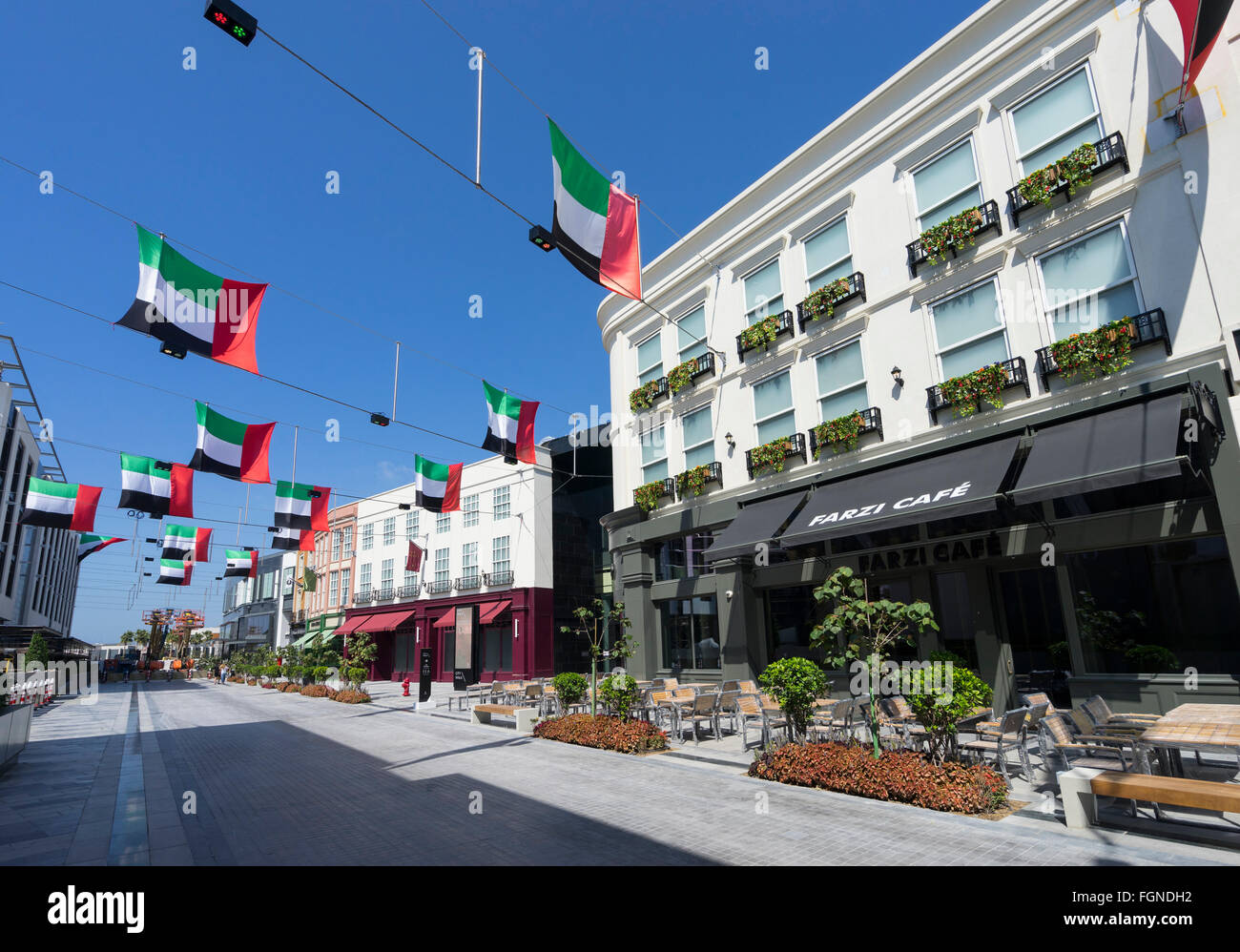 View of reproduction European street at new outdoor shopping arcade called Citywalk in Dubai United Arab Emirates - Stock Image