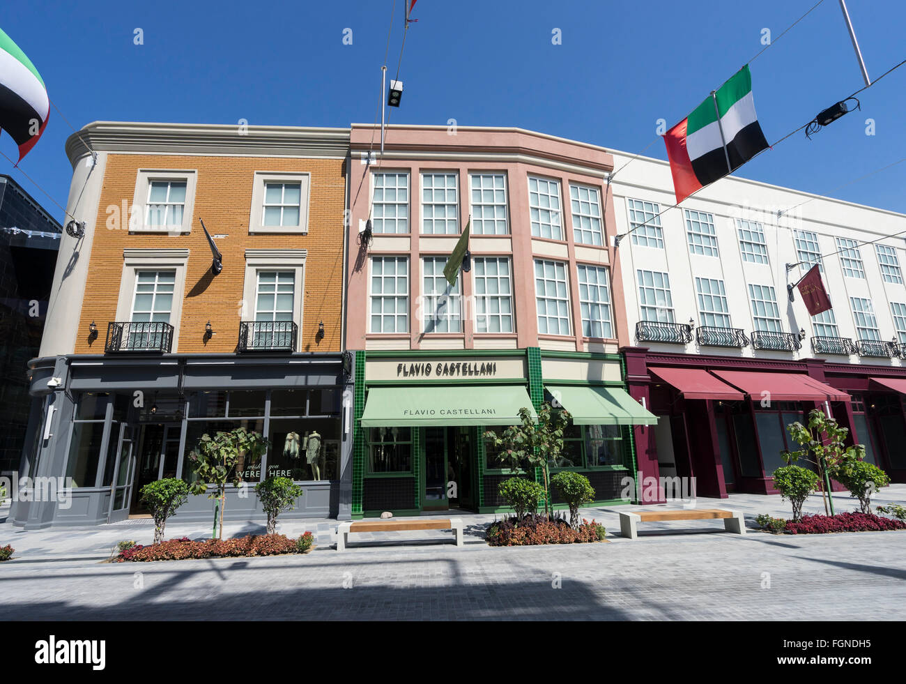 View of shops on reproduction European street at new outdoor shopping arcade called Citywalk in Dubai United Arab - Stock Image
