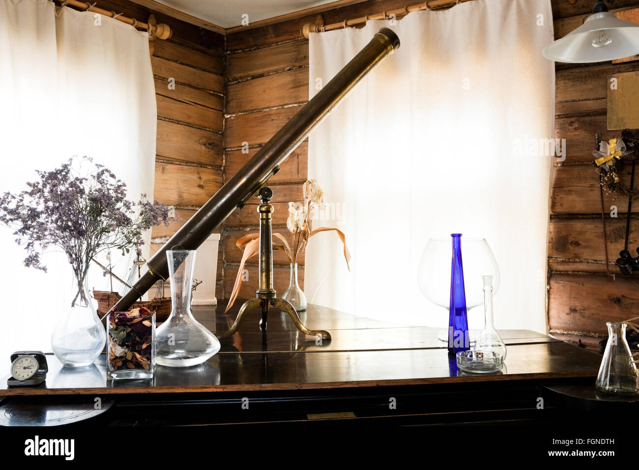 beautiful old objects in the studio of the artist - Stock Image