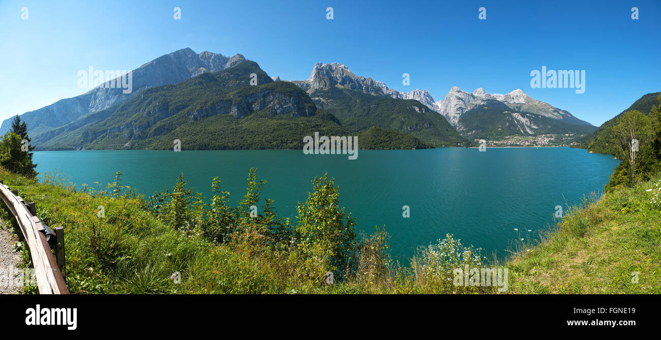 Landscape of Molveno lake and Dolomiti di Brenta group in summer season, Trentino - Italy - Stock Image