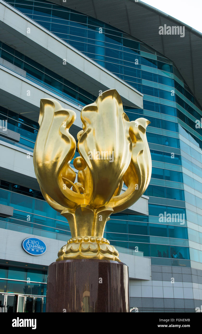 Hong Kong China Golden Bauhinia statue for the handover of Hong Kong from UK to China at the Hong Kong Convention - Stock Image