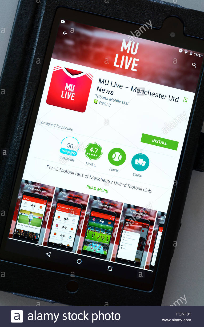 Manchester United FC team news app on an android tablet PC