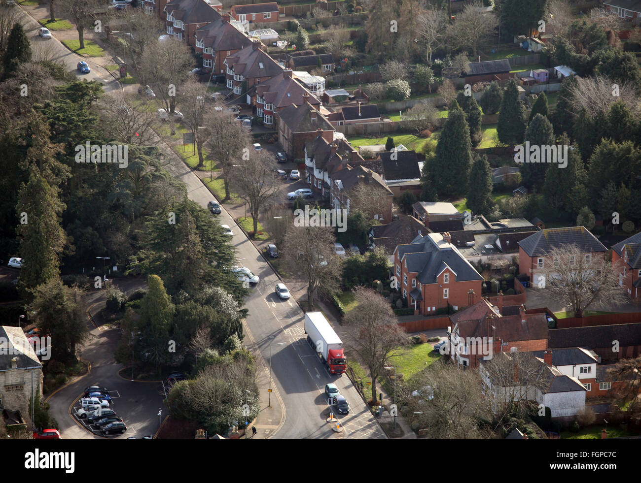 aerial view of a typical domestic suburban middle class English street in Banbury, Oxfordshire, UK Stock Photo