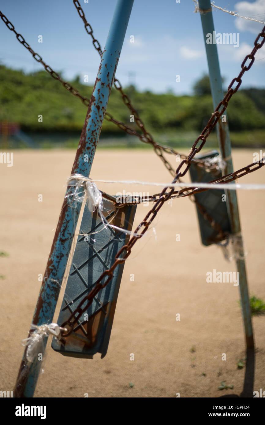School yard, unused by children, in Iitoi village, in Iitate district, Japan, 14 July 2015. Decontamination work - Stock Image