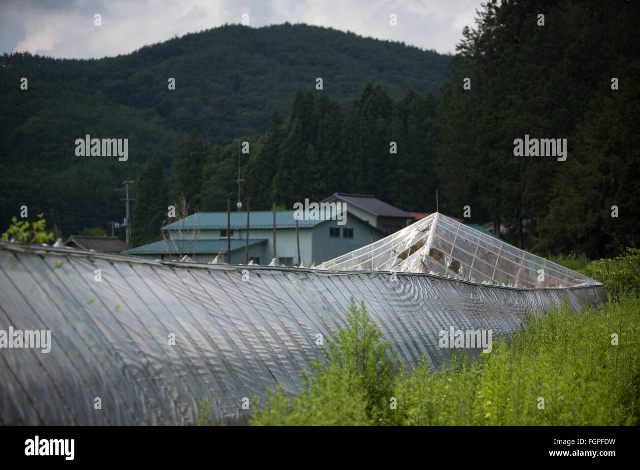 Abandoned village in Iitate district, Japan, 15 July 2015. Decontamination work of the radiation spread by the March - Stock Image