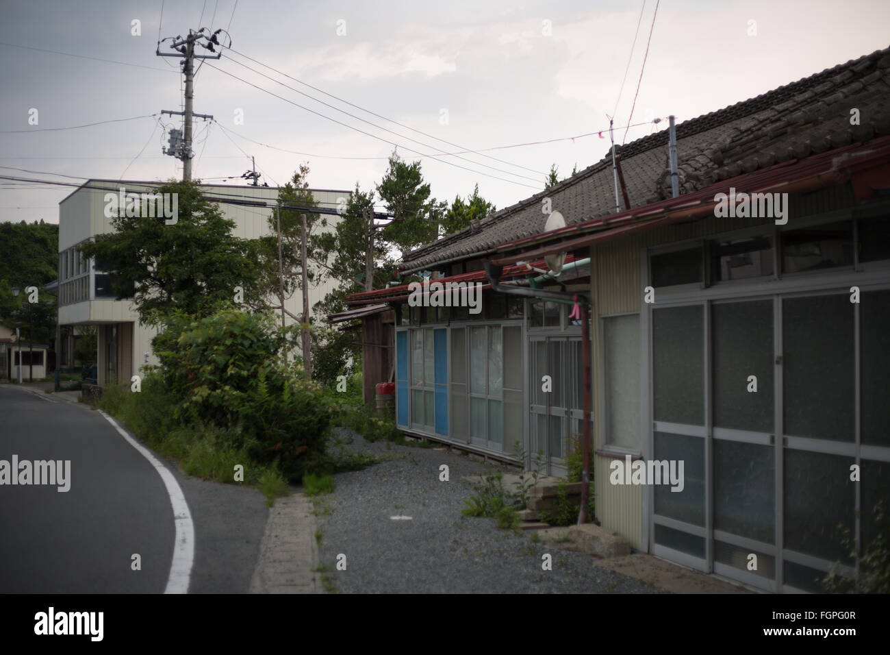 Abandoned village of Kusano, in Iitate district, Japan, 15 July 2015. Decontamination work of the radiation spread Stock Photo
