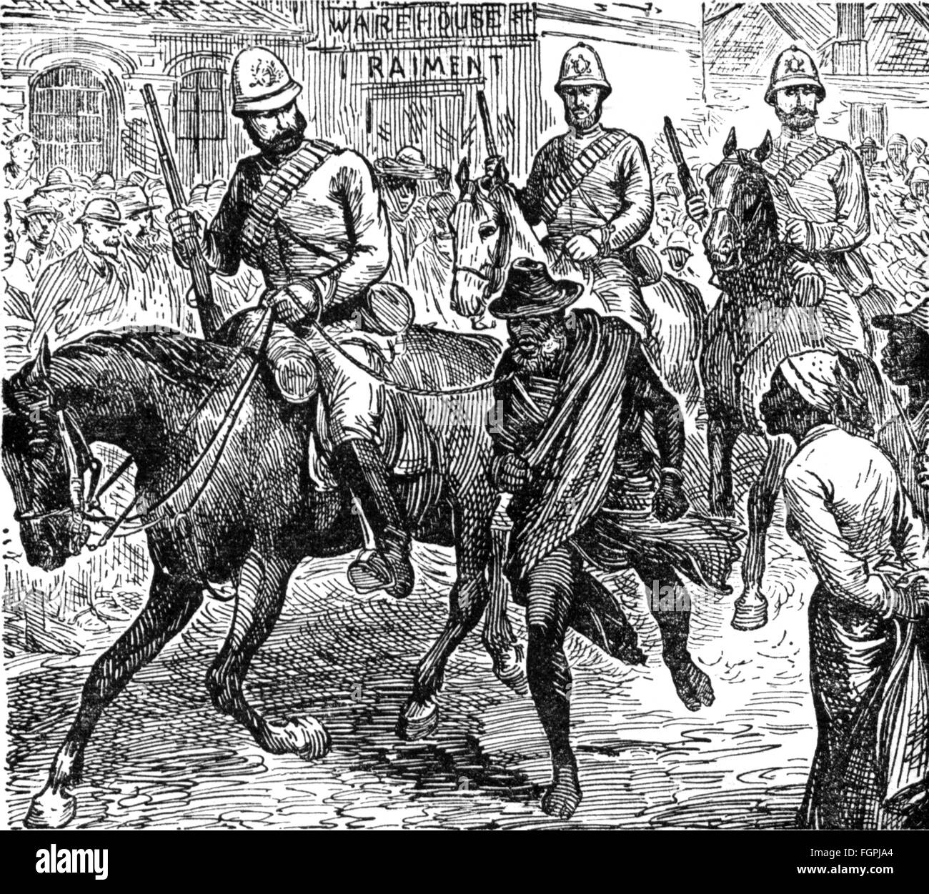 colonialism, Africa, British soldiers leading the chief of an insurgent South African tribe through the streets, - Stock Image