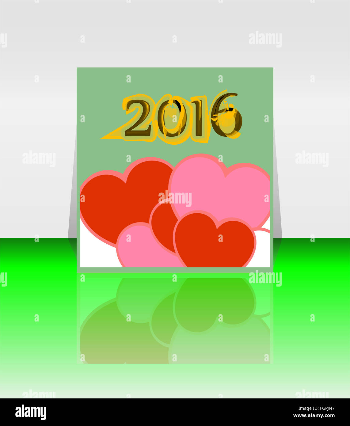 happy new year 2016 word on blank note book with red heart shape