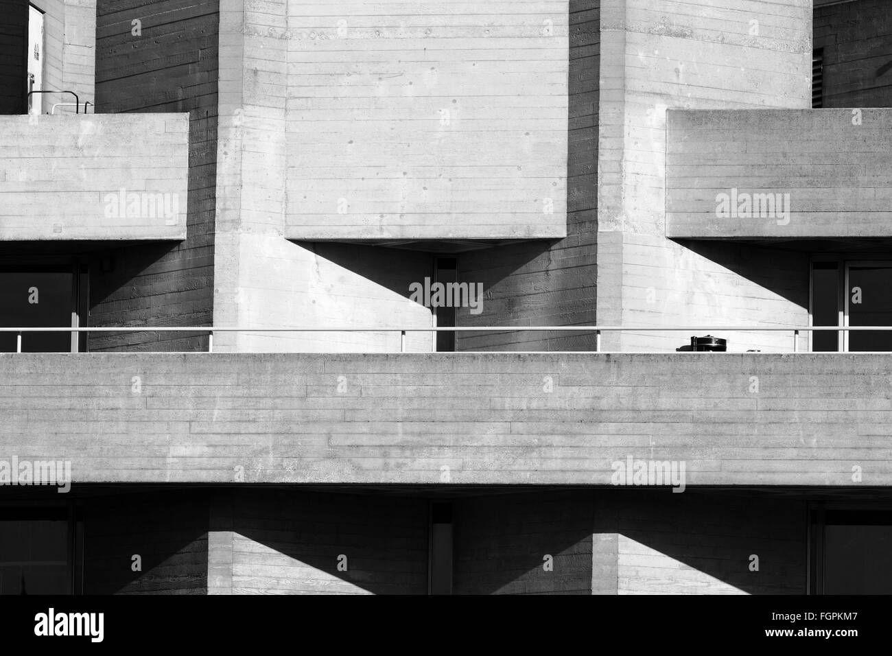 A view of part of The National Theatre, which is on the embankment of The River Thames in London, England. - Stock Image