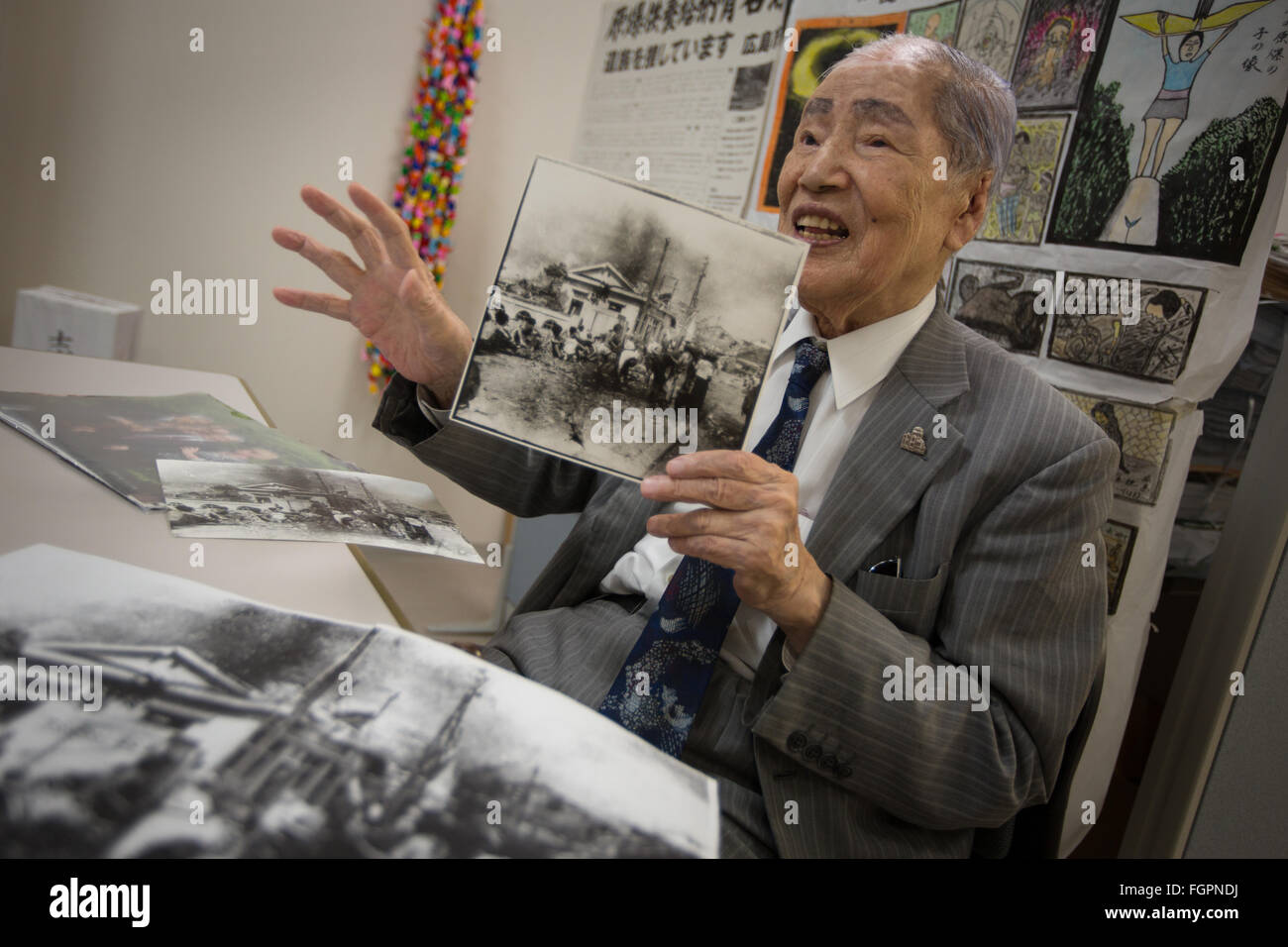 Sunao Tsuboi, atomic bomb survivor and co-Chairperson of the japan Confederation of A- and H- bomb Sufferers Organisation, - Stock Image