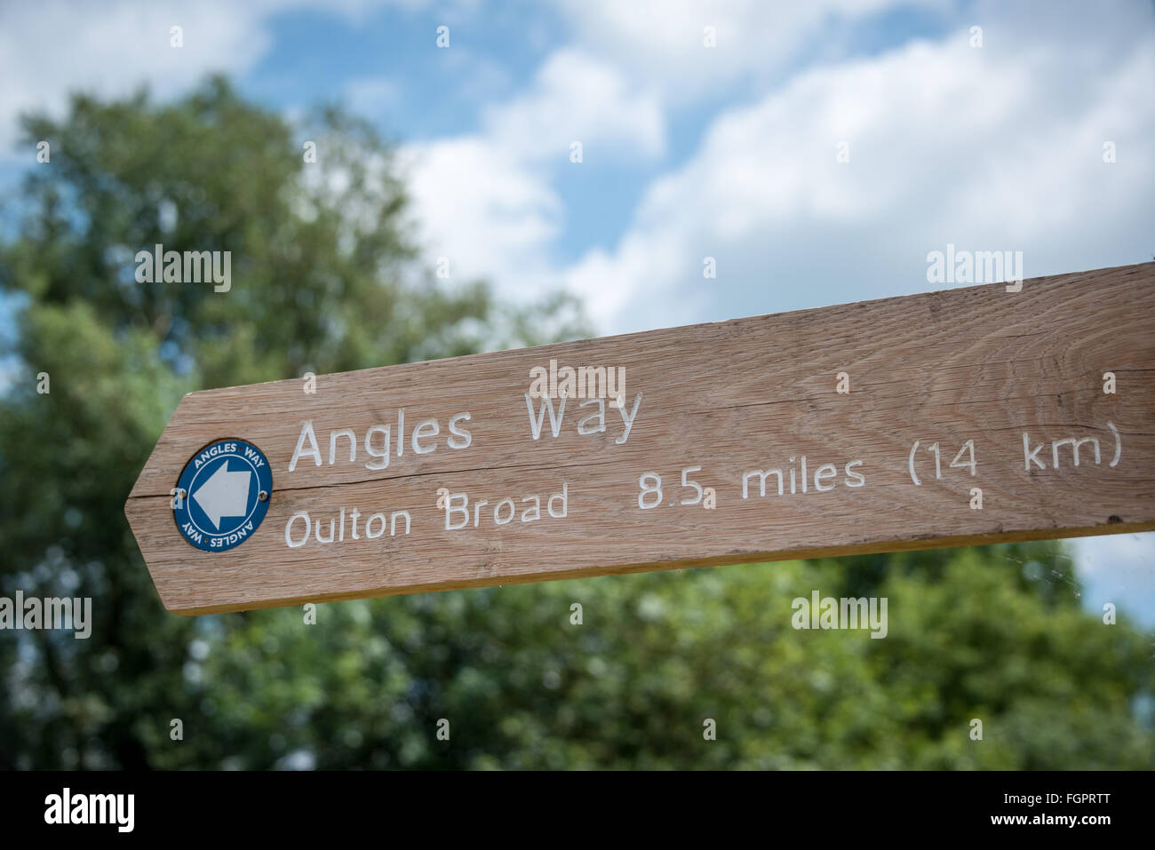 Angles Way sign, Beccles, Suffolk - Stock Image